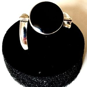 New Reversible Silver 950 Ring Yellow & Black Onyx